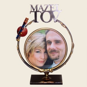 SWF9MW - Small Circular Frame with Mazel Tov and Shards Tube