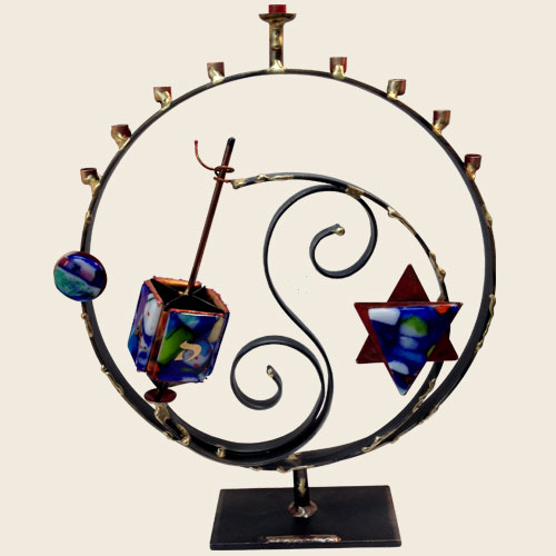 A85D - Large circle dreidel menorah combo