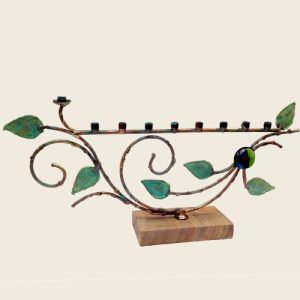 TA3LG - Large green patina Tree of Life menorah on stone