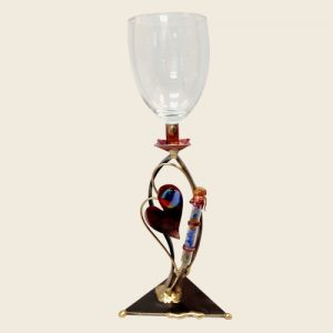 KC30W - Double Heart Wedding Shards Kiddush Cup